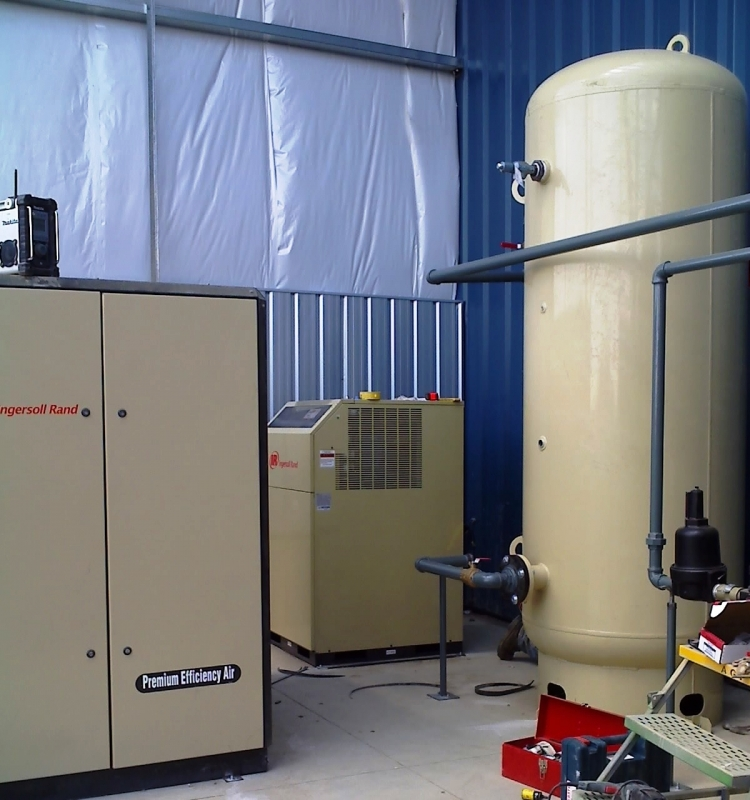 From Left to Right: 100 HP Air Compressor, Air Dryer and Air Receiver Tank